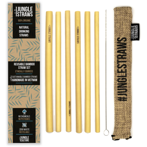 Reusable Bamboo Straws of 6-Wheat Hessian Pouch